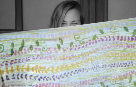 Pañuelo de seda pintado a mano en Valencia